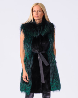 Lilith Black NAFA Mink Fur 2-in-1 Zip-Off Coat with Fox Fur Trim