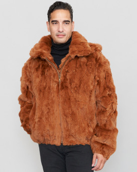 Lincoln Rabbit Fur Hooded Bomber Jacket Whiskey