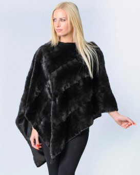 Livia Diagonal Cut Black Mink Fur Shawl
