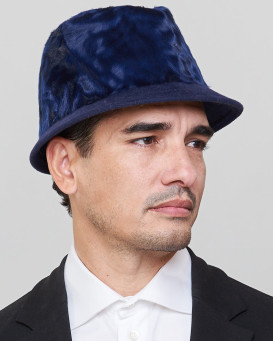 Logan Short Brim Fedora Bucket Hat in Navy for Men