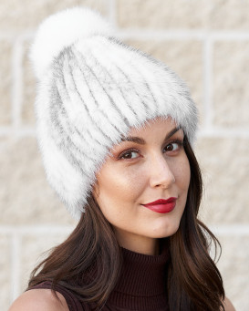 Lola Knit Mink Beanie Hat with Fox Pom Pom