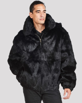 Lucas Black Rabbit Fur Hooded Bomber Jacket for Men