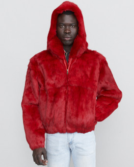 Lucas Crimson Rabbit Fur Hooded Bomber Jacket for Men