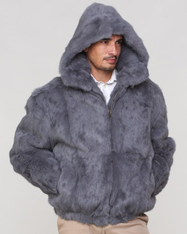 Lucas Grey Rabbit Fur Hooded Bomber Jacket for Men