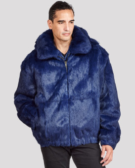 Lucas Navy Rabbit Fur Hooded Bomber Jacket for Men