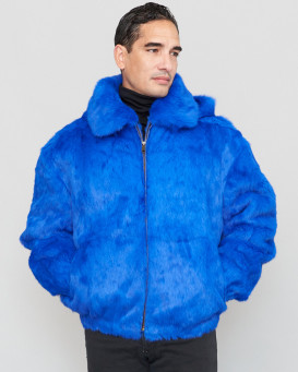 Lucas Royal Blue Rabbit Fur Hooded Bomber Jacket