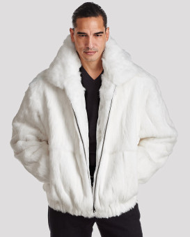 Lucas White Rabbit Fur Hooded Bomber Jacket for Men