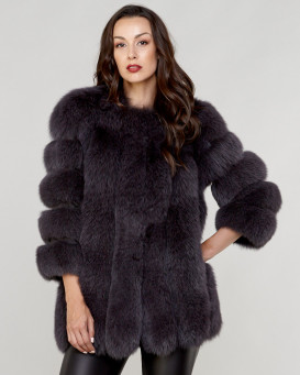 d0306497b Luciana Grey Fox Fur Coat with Vertical Panels
