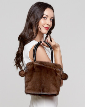 Lux Mink Handbag in Brown