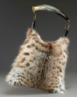 Dominique Lynx Fur Purse with Horn Handle