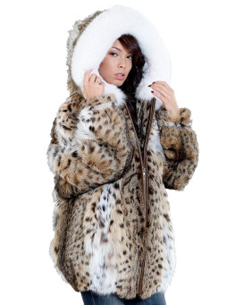 The Abby Lynx Fur Parka Coat with Hood for Women