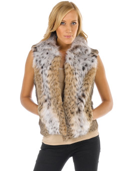 The Brynn Lynx Fur Vest with Collar for Women