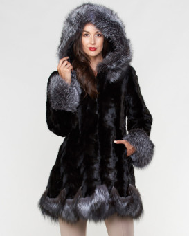 Mandy Sculptured Mink Fur Hooded Coat with Fox Fur trim