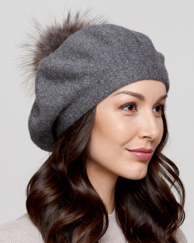 Manon Beret with Finn Raccoon Fur Pom Pom in Grey