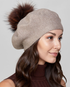 Manon Beret with Finn Raccoon Fur Pom Pom in Brown