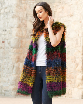 Marcie Fox Fur Duster Vest in Multi Color