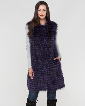 Marcie Fox Fur Duster Vest in Purple