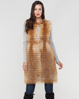 Marcie Genuine Red Fox Fur Duster Vest