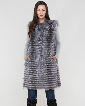 Marcie Genuine Silver Fox Fur Duster Vest