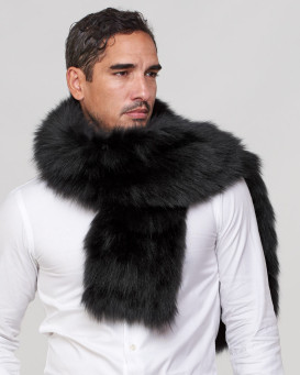 Mark Wide Knit Fox Fur Scarf with Pockets in Black for Men