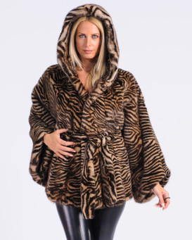Marleigh Mink Fur Tiger Stripe Cape in Demi-Buff with Hood