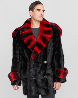 Mateo Mink Fur Coat with Chinchilla Print Rex Rabbit Fur