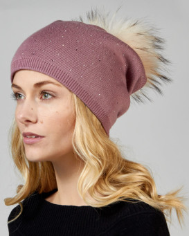 Mauve Jewel Beanie with Finn Raccoon Pom Pom