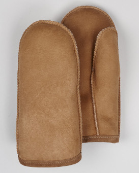 Mens Alaska Shearling Sheepskin Mittens in Tan
