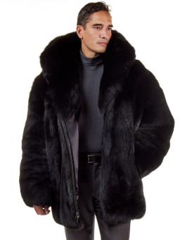 The Hudson Mid Length Black Fox Fur Coat for Men