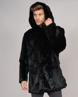 Jason Black Rabbit Fur Over Coat with Hood For Men
