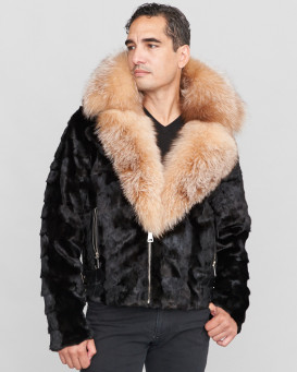 Ed Mink Moto Jacket with Fox Collar & Hood in Black