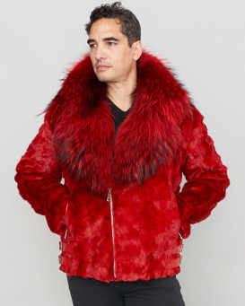 Ed Mink Moto Jacket with Fox Collar & Hood in Red
