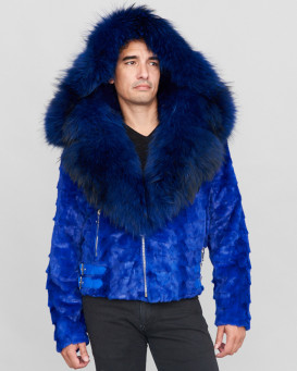 Ed Mink Moto Jacket with Fox Collar & Hood in Royal Blue