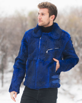 Evan Rabbit Fur Biker Jacket in Blue