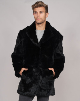 Carter Black Rabbit Fur Coat with Lapel Front For Men