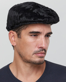 Anton Lamb Fur Flat Cap in Black for Men
