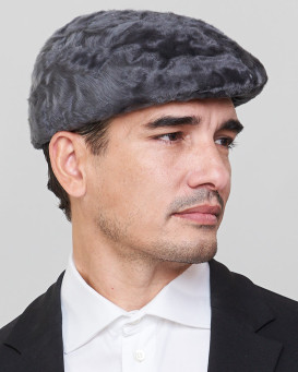 Anton Lamb Fur Flat Cap in Grey for Men