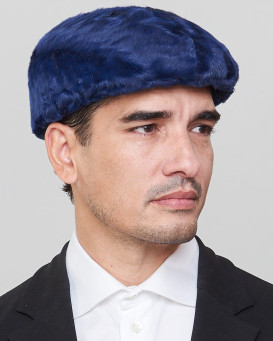 Anton Lamb Fur Flat Cap in Navy for Men
