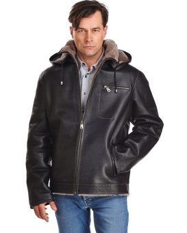 Oliver Shearling Sheepskin Jacket with Detachable Hood For Men