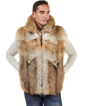 The Ethan Natural Coyote Fur Vest with Collar