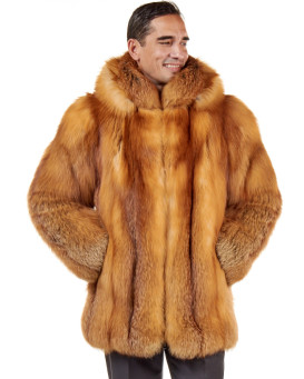 Sebastian Red Fox Fur Zippered Jacket