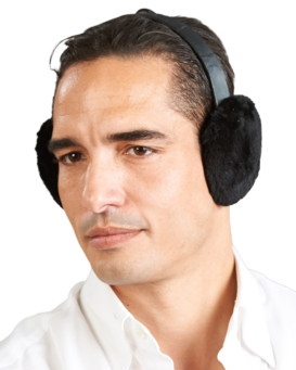 Men's Sheared Black Beaver Fur Earmuffs with Leather Band
