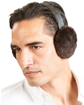 Men's Sheared Brown Beaver Fur Earmuffs with Leather Band