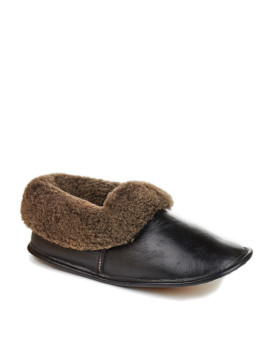 Black Men's Napa Leather Shearling Sheepskin Slippers