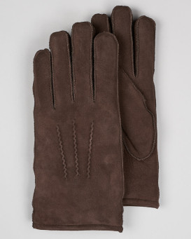 Men's Minnesota Brown Suede Shearling Sheepskin Gloves