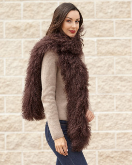 Michelle Chocolate Mongolian Lamb Fur Scarf