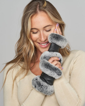 Mila Fingerless Leather Gloves with Blackfrost Rex Rabbit Fur