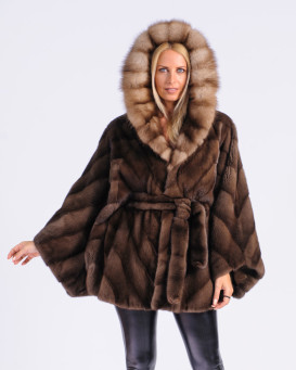 Milana NAFA Mink Fur Cape in Demi-Buff with Marten Fur Hood