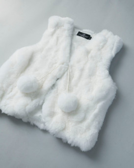Mini Adelyn Rabbit Fur Vest with Pom Poms in White for Kids