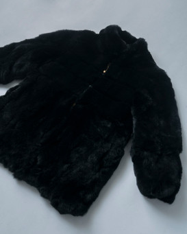 Mini Elaina Rabbit Fur Coat in Black for Kids
